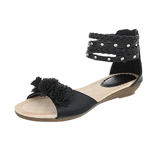 Ital-Design Zapatos Para Mujer Sandalias de Vestir Plataforma Sandalias de Cuña Negro