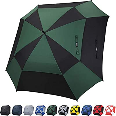 G4Free Extra Large Golf Umbrella 62 inch Vented Square Umbrella Windproof Auto Open Double Canopy Oversized Stick Umbrella