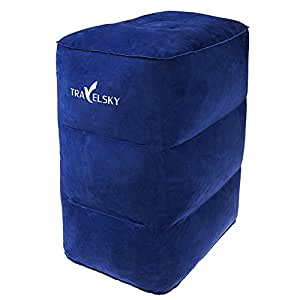 Inflatable Travel Pillow, Foot Rest Cushion Leg Pillow for Kids Adults Sleeping on Car Flight Airplanes, Portable Travel Plane Footrest for Home and Office, ManKn TRAVELSKY Serious (Blue)