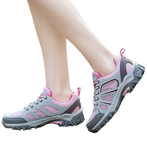 Up Farjing Shoes Men Running Women Mountaineering Lovers Lace Outdoor Mesh Comfortable Casual Pink qA4q8rTX