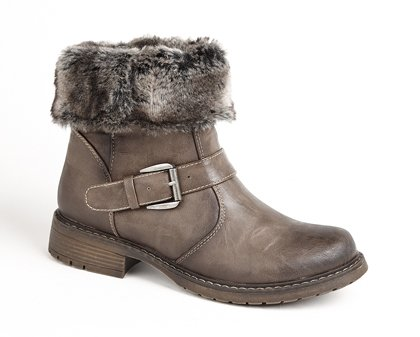 Fur Brown Bootie Low Faux Biker Ankle winter Eyes Cats Xwf800