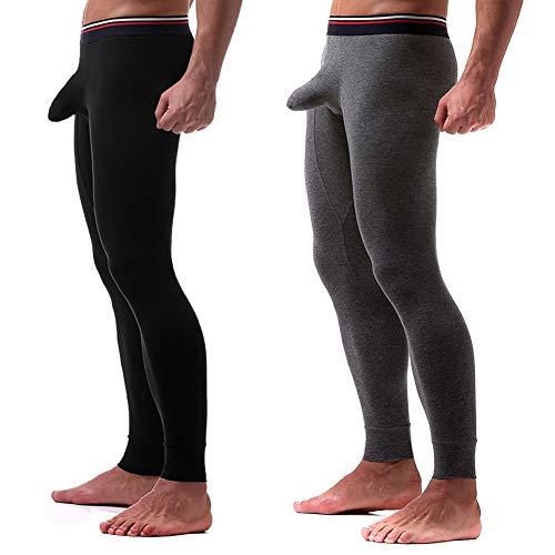 - KAMUON Men's Cotton Long Johns Thermal Bottoms Long Underwear Pants with Sheath (US L = Asian Tag 3XL : Waist 35