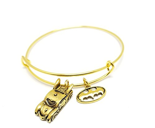 Batman Bracelet Charm Bangle Expandable Stainless Steel Personalized Bracelet Customized Super hero Bracelet, Personalized Gift, Gold Silver, Alex and Ani Inspired DC Comics Justice League (Expandable Bat)