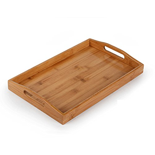 Bamboo Wooden Breakfast Tray, BestCatgift Afternoon Tea Serving Tray, Natural environment protection durable Coffee Bamboo Tray. -Natural Bamboo Serving Trays with Handles.