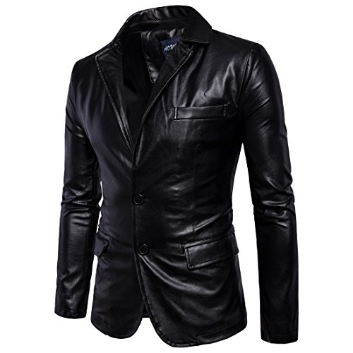 Sanke Fit Cuir Jacket Homme Two Slim Veste Faux Blazer Pu Masculin Button Noir En TqT18wr