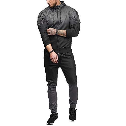 Di Abcone Fit Nero Colore Sportiva E Autunno Top 2 Tuta Pendenza Pantaloni Slim Banda Pezzi Inverno Felpa Uomo Activewear x7CwnY