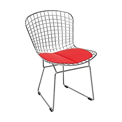 Sensational Mod Made Mid Century Modern Chrome Wire Dining Side Chair For Dining Room Kitchen Or Outdoor Red Creativecarmelina Interior Chair Design Creativecarmelinacom