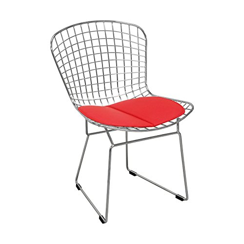 (Mod Made Mid Century Modern Chrome Wire Dining Side Chair for Dining Room Kitchen or Outdoor, Red)