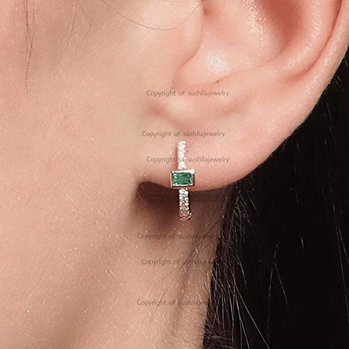 Solid 14k Yellow Gold Genuine Baguette Cut Emerald Gemstone Huggie Hoop Earrings Handmade Pave Si Clarity G-H Color Diamond Minimalist Jewelry Gift for her