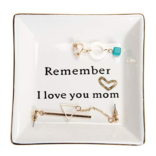 HOME SMILE Ceramic Ring Dish Decorative Trinket Plate -Remember I Love You Mom-Gifts for Mom,Mother Birthday Gifts