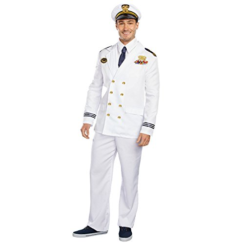 Naval Uniform (Dreamguy by Dreamgirl Men's The Captain Costume, Red, Large)