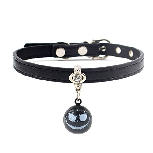 MayAi Halloween Adjustable Leather Cat Collar with Grimace Bell and Bling Rhinestone for Kitty, Puppy, Small Dogs (Halloween Grimace)