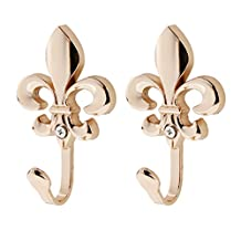 Antique Wall Mounted Hooks Coat Robe Clothes Hat Towel Hangers Curtain Holder Pack of 2 - Gold , /