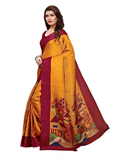 7e56e289153bb Varayu Women s Mustard Color Khadi silk (Art silk) Printed Saree(811S109-Mustard)   Amazon.in  Clothing   Accessories