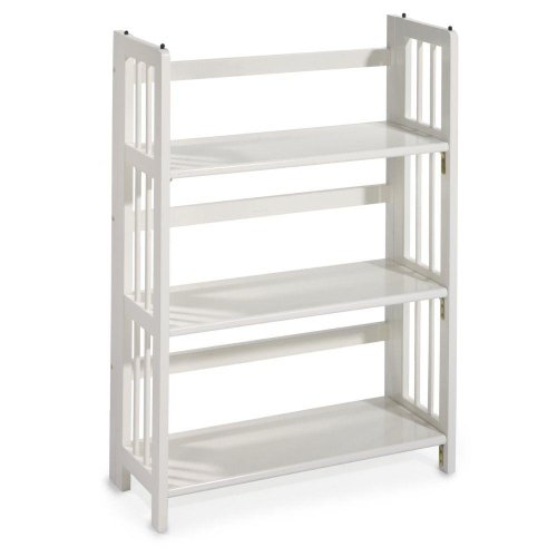 Bookcase Mission Folding - Mission Style 38 x 27.5 Inch White Folding / Stacking Bookcase, 27.5