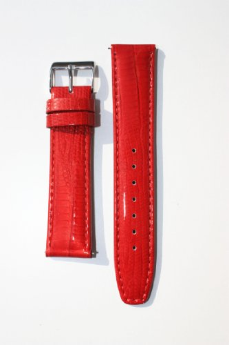 18mm Deep Red Quick-Release Patent Leather Lizard Grain Watchband for Michele (Red Patent Lizard)