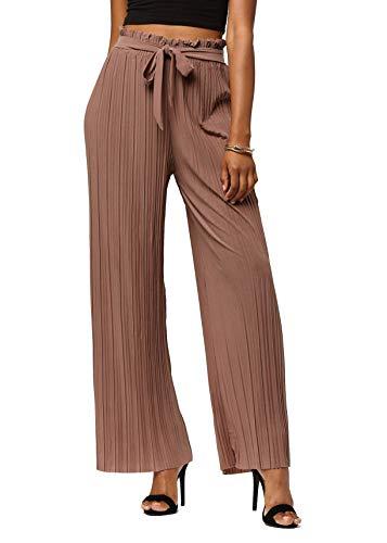 Sash Color Any (Conceited Women's Paper Bag Waist Wide Leg Pleated Palazzo Pants - Paper Bag - Mocha - Plus Size - PB902-Mocha-Plus)