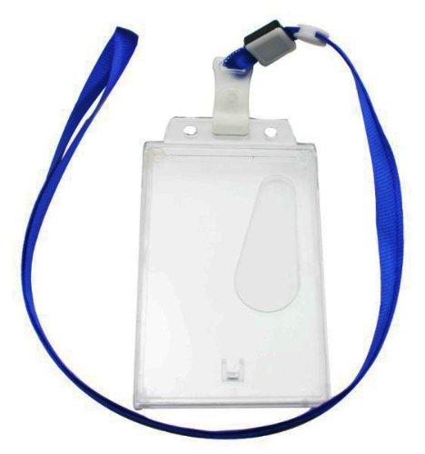 Ailisi Vertical Card Holder Neck Strap Lanyard Color Deep Blue Strap Belt Clip Pack of 10