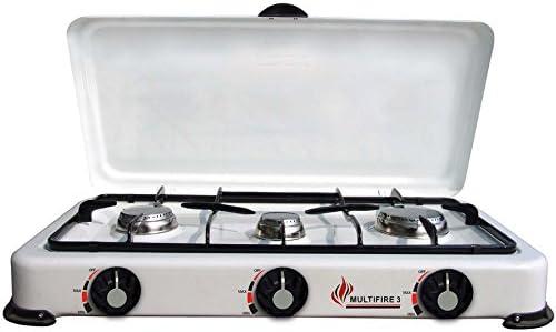Multifire - Hornillo de gas, acero, esmaltado, 3 fuegos, color blanco