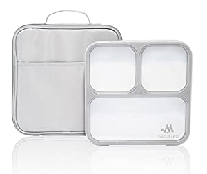 bento lunch box 3 portion control leak proof compartments includes matching adult insulated. Black Bedroom Furniture Sets. Home Design Ideas