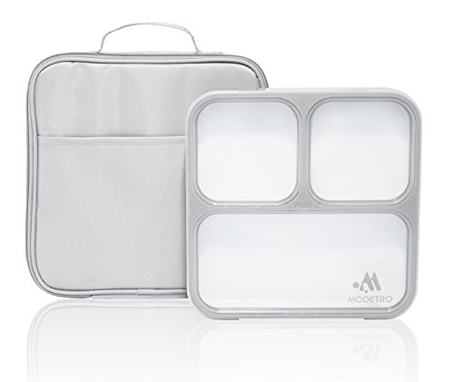 Modetro Ultra Slim Leak Proof Bento Lunchbox with 3 Portion Control Compartments, Includes Matching Insulated Lunch Bag - Ideal for Adults (Bento Box Accesories compare prices)