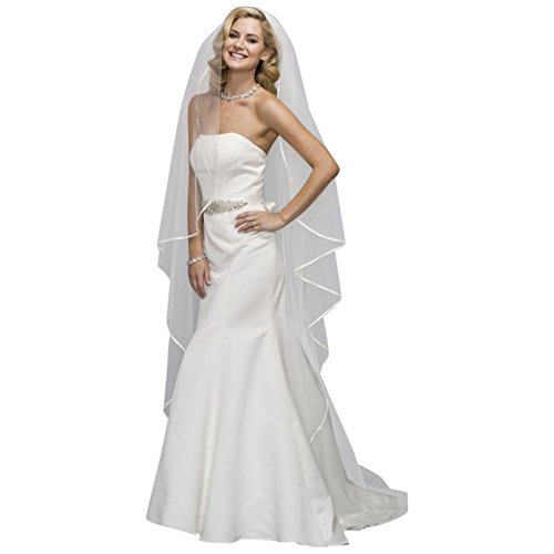 Satin-Trimmed Cathedral Veil Style V-ELISE, White by David's Bridal