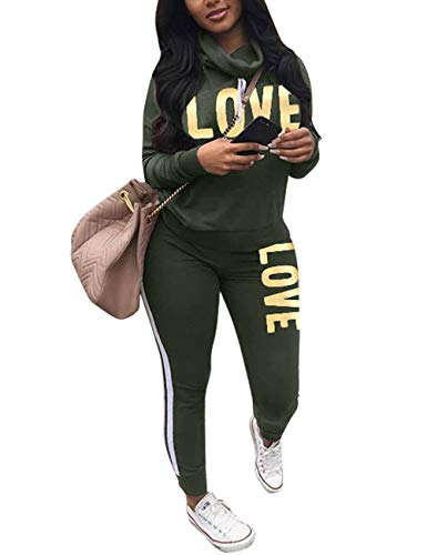 Women's Letter Print 2 Piece Outfit Cowl Neck Long Sleeve Sweatshirt and Pants Joggers Set Tracksuit Army Green Large ()