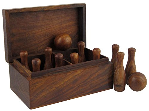 ShalinIndia Games Bowling Set in Wood 10 Pins and 2 Balls in Box