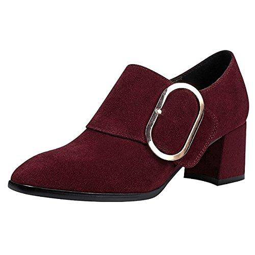 DIMAOL Chaussures Pour Femmes Suede Tous les Seazons Comfort Bootie Talons Talon Boucle Bout Carré Pour UNE Partie et le Soir Noir Vin,Vin,US6/EU36/UK4/CN36