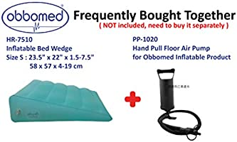 """7.5/""""~1.5/"""" Trip Vacation Travel 23/"""" x 22/"""" x Horizontal Indention Prevent Sliding Cyan ObboMed® Group ObboMed HR-7510 Inflatable Portable Bed Wedge Pillow with Velour Surface for Sleeping"""