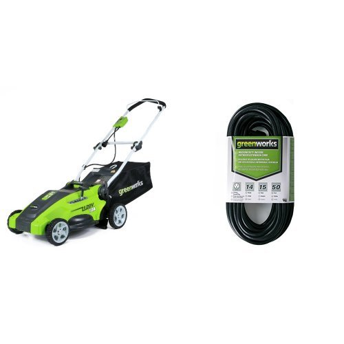 Greenworks 16-Inch 10 Amp Corded Lawn Mower 25142 with 50-Foot Indoor & Outdoor Extension Cord ECOA010