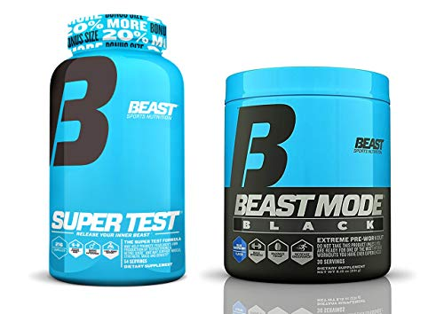 Beast Sports Nutrition Super Test and Beast Mode Black Bundle: High Powered Testosterone Booster Bundled with The Explosive Pre-Workout Formula Containing Agmatine for Massive Pumps (Blue Raspberry) - Estrogen Healthy