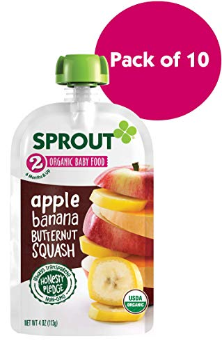 Sprout Organic Stage 2 Baby Food Pouches, Apple Banana Butternut Squash, 4 Ounce (Pack of 10)