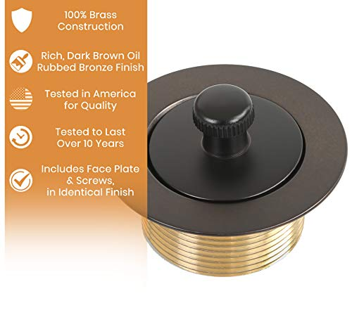 100% Brass Lift and Turn Bathtub Drain - Vance Home Improvement - Oil Rubbed Bronze Finish - Handyman Designed! - Tested for Quality in America! - Will Fit All Bathtub Drains