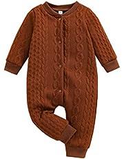 طفل الفتيات الفتيان محبوك تويست رومبير الرضع حديث الولادة الصلبة طويلة الأكمام حللا ملابس دافئة ملابس (Color : Brown, Size : 12M)