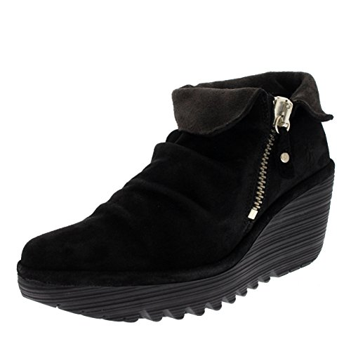 Womens Fly London Yoxi Wedge Fold Cuff Oil Suede Platform Ankle Boots Black/Diesel xtNvz0Pep