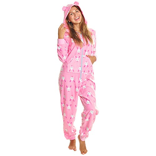 Angelina Women's Fleece Novelty One-Piece Hooded Pajamas, PJ1Z_Bunny_SM -