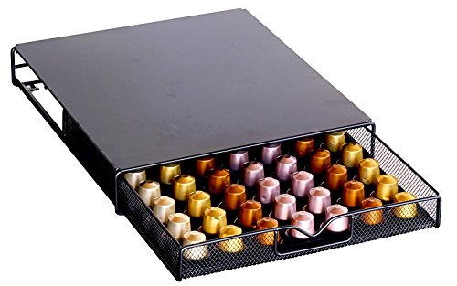 DecoBros Coffee Pod Storage Mesh Nespresso Drawer holder for 56 Capsules, Black (Pods 56)