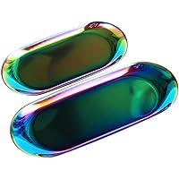 Maquillali 2 Pcs Bandejas Ovales, Almacenamiento para Cosméticos, Joyas, Platos de Mesa y Decoraciones Hogar. De Aceros…