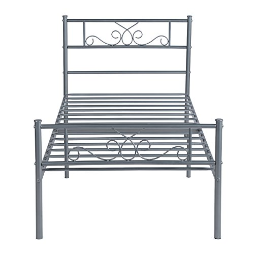 SimLife Stable Metal Frame Size 6 Legs Two Headboards Mattress Foundation Steel Platform Bed Box Spring Replacement (Twin, Silver),