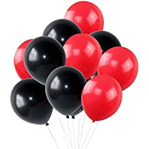 """KUMEED Black Red Assorted Balloons 12"""" Latex Balloons Children Party Balloons Vivid Bright Color Balloon Globos Holiday Birthday Wedding Balloons Pack of 100"""