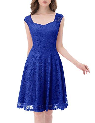 DRESSTELLS Short Sweetheart Bridesmaid Dress Floral Lace Cocktail Party Dress Classic Blue 2XL -