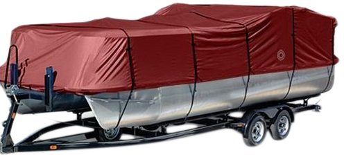 Wake Monsoon Series Pontoon Boat Cover 600D Marine Grade Durapel Polyester Canvas (Red, Fits 21 to 24-Feet (Beam idt to 104-Inch)