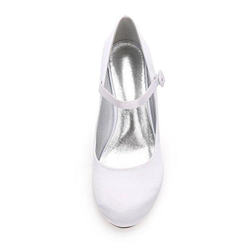 De Talons 27 Personnalisé yc Party Hauts Toe Mariage chaussures Court Satin F17061 Femmes Blue L Amande 67qdYSqw