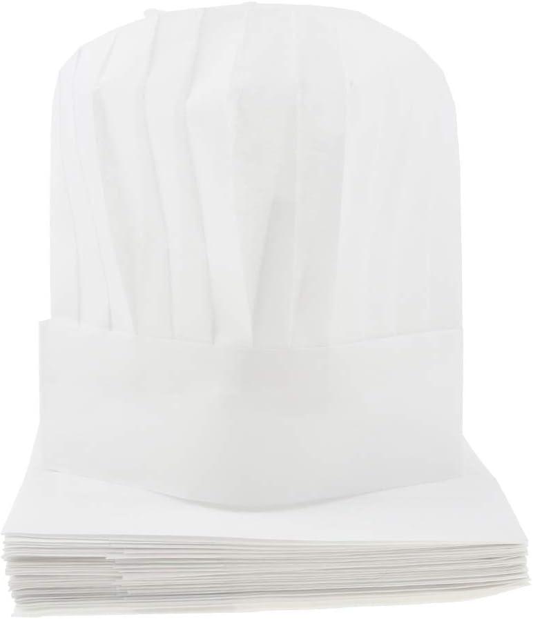 SM SunniMix 20 x Toque de Cuisinier Adulte Chapeau de Cuisine Jetable