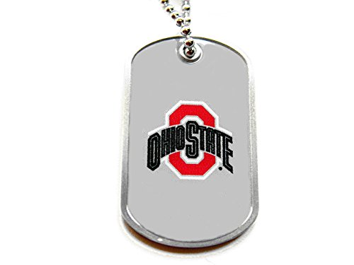 aminco Ohio State Buckeyes Dog Tag Domed Necklace Charm Chain NCAA