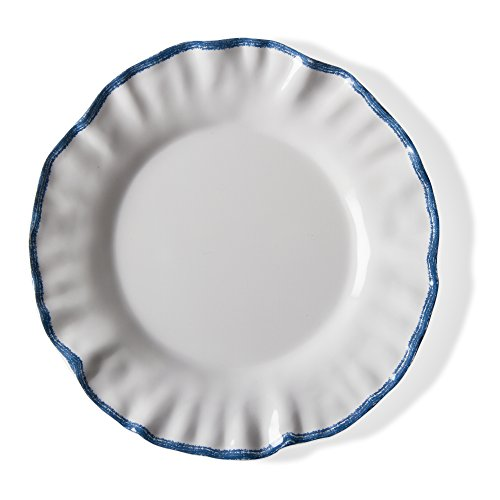 tag - Ruffle Rim Melamine Salad Plate, Durable, BPA-Free and Great for Outdoor or Casual Meals, Blue/White (Set Of ()