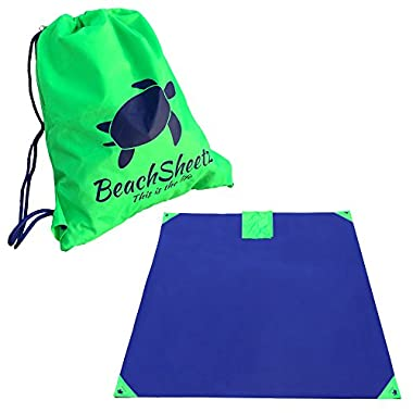 """Beach, Outdoor, Hiking, & Picnic Blanket - 7'x7' - Made Tough With Ripstop Polyester! Sand & Water Resistant, Weighted Corners Keep it Anchored Down. Reverse Folds into a 14""""x17"""" Drawstring Backpack!"""