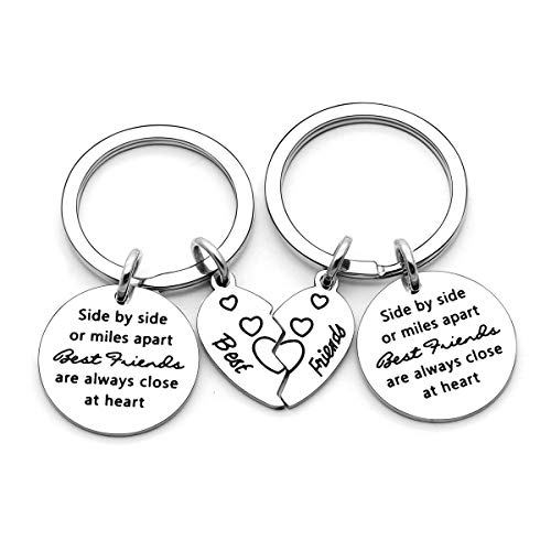 Best Friend Gifts, 2 Pcs Keychains Key Rings Keyring for Friendship with Broken Heart