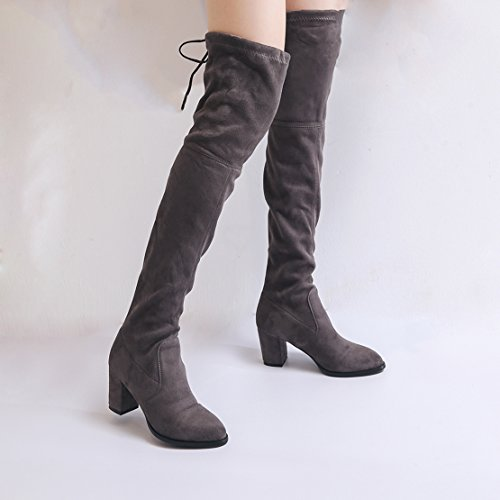 Up Elastic Solid Fabric Gray Over Boots Women's Autumn Block Winter Knee Lace AIYOUMEI Heels Fashion Suede the wIqzAO